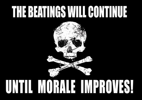 the-beatings-will-continue-until-the-morale-improves-skull-and-cross-bones-stamp-scratched-printed-effect-funny-metal-steel-wall-sign