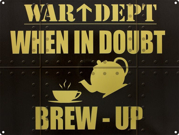 war-dept-brew-up-tea-coffee-cafe-diner-kitchen-old-garage-metal-steel-wall-sign