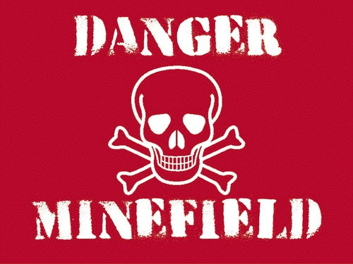 Danger. Minefield. Skull and Crossbones on red background.  Metal/Steel Wall Sign