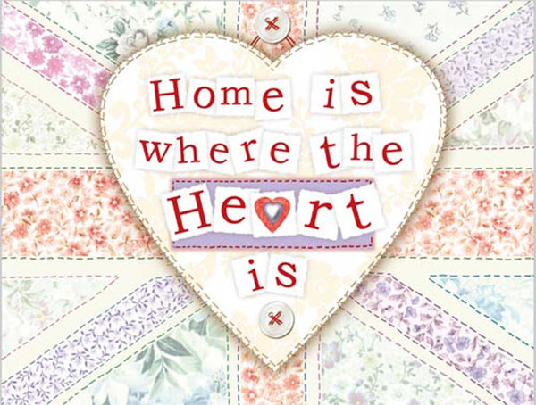 Home is where the heart is. Heat shape. British flag. Stitch work, crafting, cloth, materia Fridge Magnet