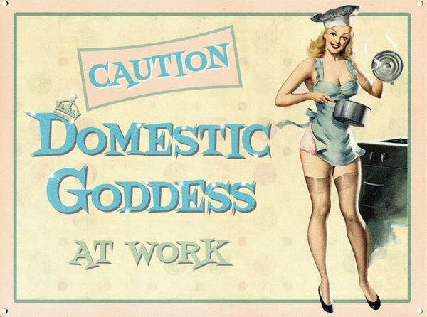 caution-domestic-goddess-at-work-sexy-pinup-blonde-pots-and-pans-underwear-silk-mum-s-kitchen-chef-hat-metal-steel-wall-sign