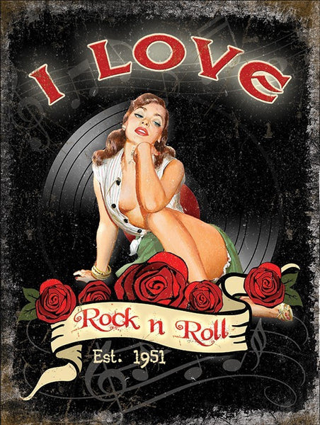 i-love-rock-n-roll-est-1951-50-s-sexy-pinup-roses-and-vinyl-ideal-for-house-home-music-room-bar-pub-cafe-or-shop-joan-jett-the-blackhearts-1981-lyric-from-hit-song-metal-steel-wall-sign