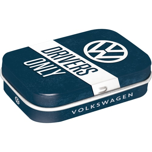 VW Drivers Only Volkswagen Car Old Camper Classic Metal/Tin Mint Box