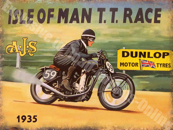 ajs-isle-of-man-tt-race-dunlop-motor-tyres-1935-vintage-garage-metal-steel-wall-sign