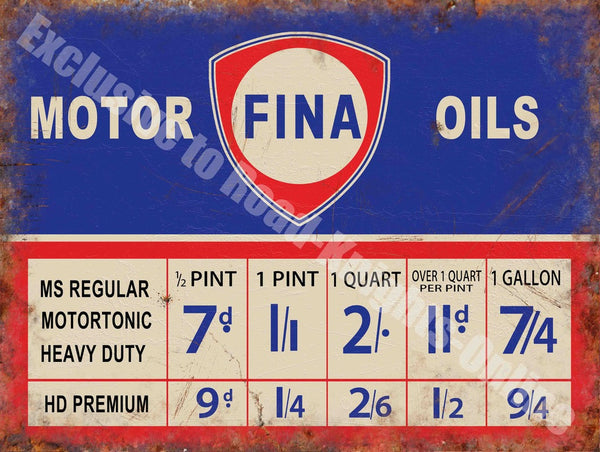 fina-motor-oils-price-chart-oil-petrol-old-vintage-garage-advert-metal-steel-wall-sign