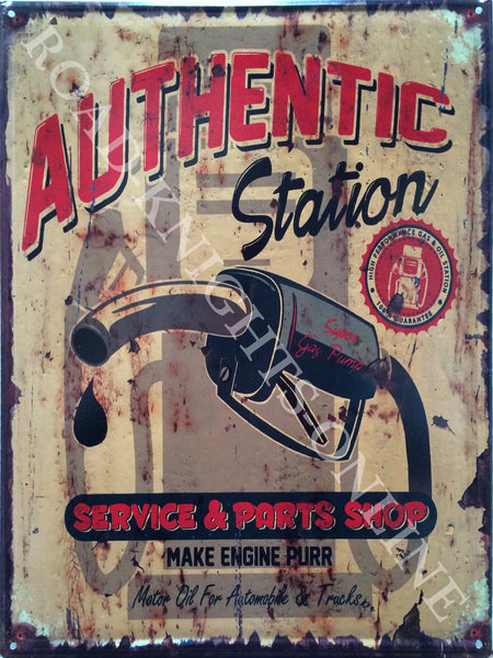 "Authentic Station. Service and parts shop, makes engine purr. Petrol pump. Gasoline. Petroleum. Old retro vintage in design, ideal for house, home, garage, shed bar or pub. Chinese sign, spelling mistake on ""make engine pur Large Steel Wall Sign"