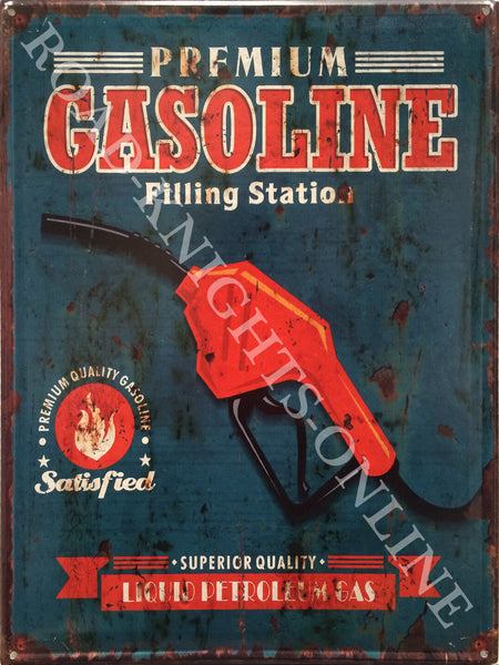 Premium Gasoline. Nozzle. Filling Station, superior quality Liquid Petroleum. Petrol. Gas. Red pump. Handle. Blue back ground. Cars, bikes, motor vehicles. Old retro vintage in design, ideal for pub, bar, shed, garage, kitch Large Steel Wall Sign