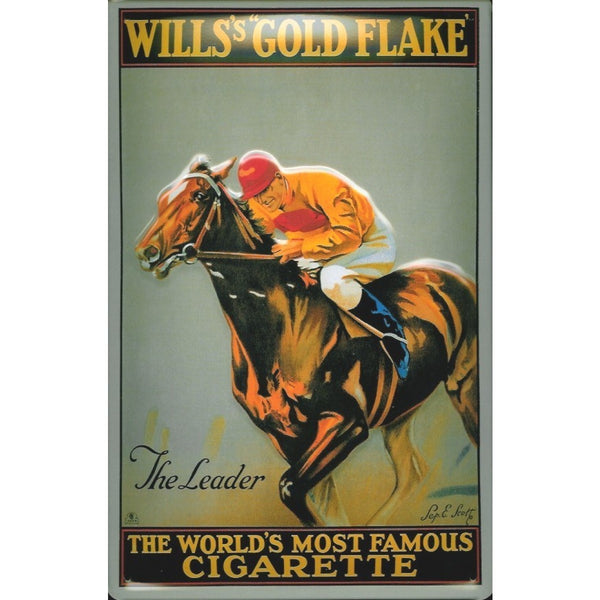 wills-s-gold-flake-horse-racing-old-advertising-3d-metal-steel-wall-sign
