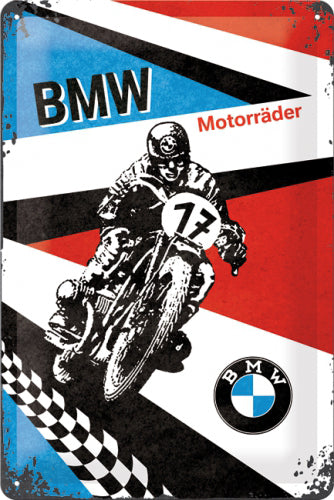 BMW Motorrader, Motorcycle, Bike Rider, Motorsport, Vintage Racing, 3D Steel Wall Sign