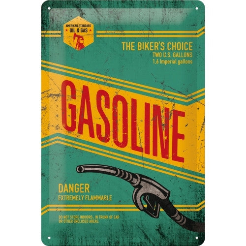 american-gasoline-petrol-old-vintage-garage-retro-gas-the-biker-s-choice-hose-pump-yellow-and-green-automotive-ideal-for-house-home-bar-pub-shop-garage-man-cave-shed-petrol-station-or-diner-3d-metal-steel-wall-sign