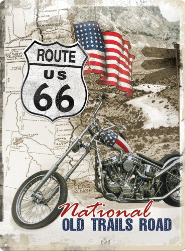 Route 66 USA Motorcycle Motorbike Classic Cruiser Large Metal//Steel Wall Sign