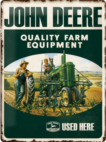 john-deere-quality-farm-equipment-used-here-green-tractor-old-retro-vintage-advert-child-and-father-farmer-in-field-summertime-crops-ideal-for-house-home-kitchen-bar-or-pub-3d-metal-steel-wall-sign