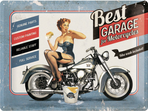 best-garage-blue-motorcycle-cruiser-bike-wash-sexy-50-s-pinup-soap-suds-genuine-parts-custom-painting-reliable-staff-full-service-3d-metal-steel-wall-sign