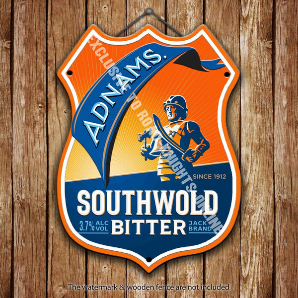 adnams-southwold-bitter-beer-advertising-bar-old-pub-drink-pump-badge-brewery-cask-keg-draught-real-ale-pint-alcohol-hops-shield-shape-metal-steel-wall-sign