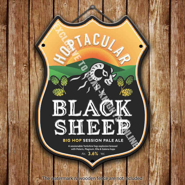 black-sheep-hoptacular-beer-advertising-bar-old-pub-drink-pump-badge-brewery-cask-keg-draught-real-ale-pint-alcohol-hops-shield-shape-metal-steel-wall-sign