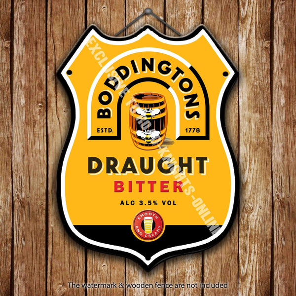 boddingtons-bitter-the-cream-of-manchester-beer-advertising-bar-old-pub-drink-pump-badge-brewery-cask-keg-draught-real-ale-pint-alcohol-hops-shield-shape-metal-steel-wall-sign
