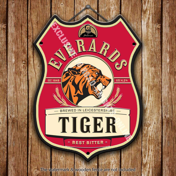 everards-tiger-beer-advertising-bar-old-pub-drink-pump-badge-brewery-cask-keg-draught-real-ale-pint-alcohol-hops-shield-shape-metal-steel-wall-sign