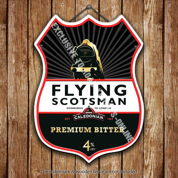 flying-scotsman-bitter-beer-advertising-bar-old-pub-drink-pump-badge-brewery-cask-keg-draught-real-ale-pint-alcohol-hops-shield-shape-metal-steel-wall-sign