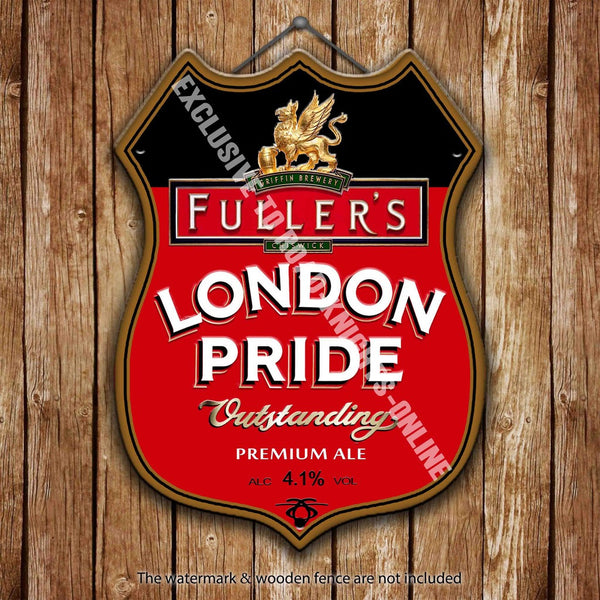 fuller-s-london-pride-beer-advertising-bar-old-pub-drink-pump-badge-brewery-cask-keg-draught-real-ale-pint-alcohol-hops-shield-shape-metal-steel-wall-sign