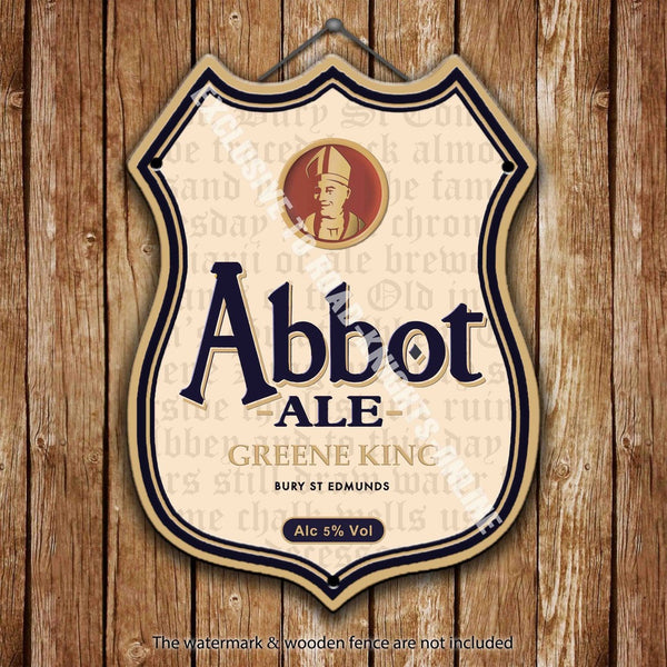 greene-king-abbot-ale-beer-advertising-bar-old-pub-drink-pump-badge-brewery-cask-keg-draught-real-ale-pint-alcohol-hops-shield-shape-metal-steel-wall-sign