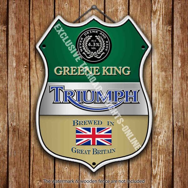 greene-king-triumph-beer-advertising-bar-old-pub-drink-pump-badge-brewery-cask-keg-draught-real-ale-pint-alcohol-hops-shield-shape-metal-steel-wall-sign