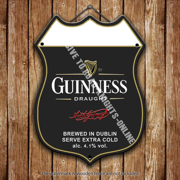 guinness-draught-stout-dublin-irish-ireland-advertising-bar-old-pub-drink-pump-badge-brewery-cask-keg-pint-alcohol-black-gold-st-patricks-harp-good-thing-come-to-those-who-wait-shield-shape-metal-steel-wall-sign