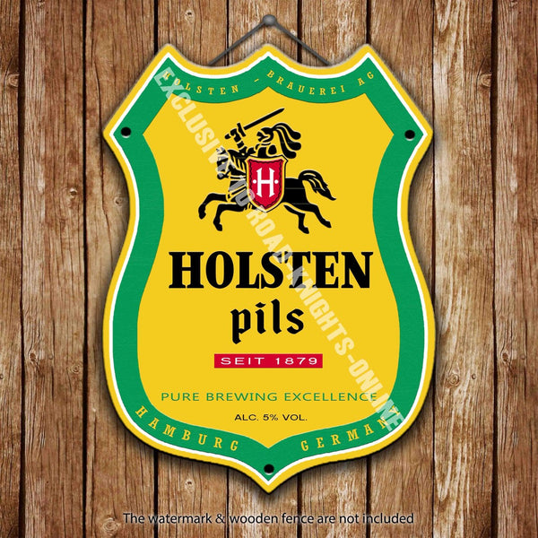 holsten-pils-beer-advertising-bar-old-pub-drink-pump-badge-brewery-cask-keg-draught-real-ale-pint-alcohol-hops-shield-shape-metal-steel-wall-sign
