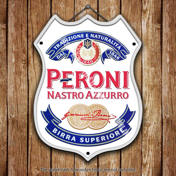 peroni-label-nastro-azzurro-lager-beer-advertising-bar-old-pub-drink-pump-badge-brewery-cask-keg-draught-real-ale-pint-alcohol-hops-shield-shape-metal-steel-wall-sign