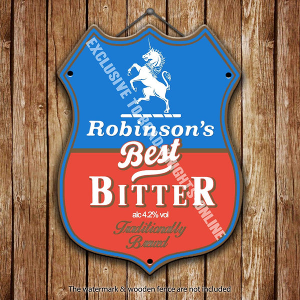 robinson-s-best-bitter-stockport-beer-advertising-bar-old-pub-drink-pump-badge-brewery-cask-keg-draught-real-ale-pint-alcohol-hops-shield-shape-metal-steel-wall-sign