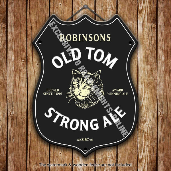 robinson-s-old-tom-strong-ale-stockport-beer-advertising-bar-old-pub-drink-pump-badge-brewery-cask-keg-draught-real-ale-pint-alcohol-hops-shield-shape-metal-steel-wall-sign