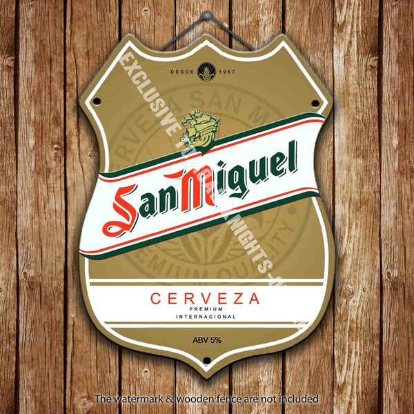 san-miguel-label-larger-beer-advertising-bar-old-pub-drink-pump-badge-brewery-cask-keg-draught-real-ale-pint-alcohol-hops-shield-shape-metal-steel-wall-sign