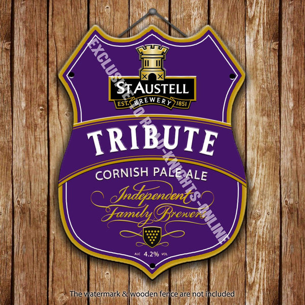 st-austell-tribute-cornish-pale-ale-cornwall-beer-advertising-bar-old-pub-drink-pump-badge-brewery-cask-keg-draught-real-ale-pint-alcohol-hops-shield-shape-metal-steel-wall-sign