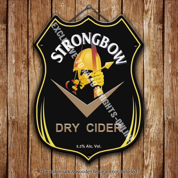 strongbow-dry-cider-advertising-bar-old-pub-drink-pump-badge-brewery-cask-keg-draught-pint-alcohol-hits-the-spot-shield-shape-metal-steel-wall-sign
