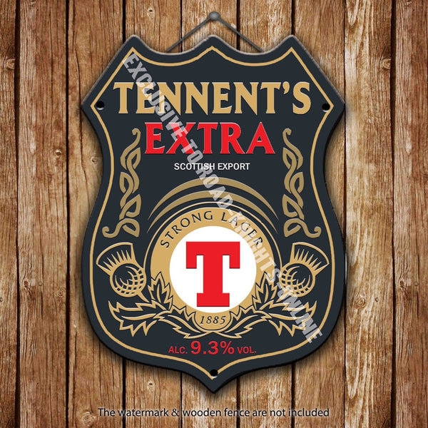 tennent-s-extra-strong-lager-beer-advertising-bar-old-pub-drink-pump-badge-brewery-cask-keg-draught-real-ale-pint-alcohol-hops-shield-shape-metal-steel-wall-sign