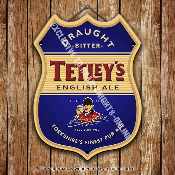 tetley-s-bitter-english-ale-beer-advertising-bar-old-pub-drink-pump-badge-brewery-cask-keg-draught-real-ale-pint-alcohol-hops-shield-shape-metal-steel-wall-sign