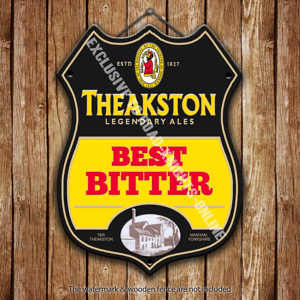 theakston-best-bitter-beer-advertising-bar-old-pub-drink-pump-badge-brewery-cask-keg-draught-real-ale-pint-alcohol-hops-shield-shape-metal-steel-wall-sign