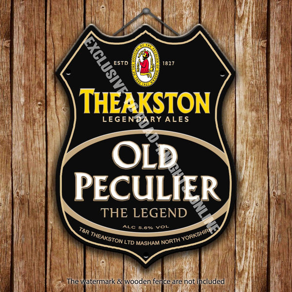 theakston-old-peculiar-beer-advertising-bar-old-pub-drink-pump-badge-brewery-cask-keg-draught-real-ale-pint-alcohol-hops-shield-shape-metal-steel-wall-sign
