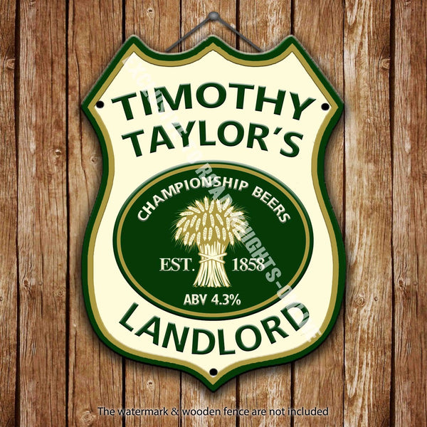 timothy-taylor-landlord-beer-advertising-bar-old-pub-drink-pump-badge-brewery-cask-keg-draught-real-ale-pint-alcohol-hops-shield-shape-metal-steel-wall-sign