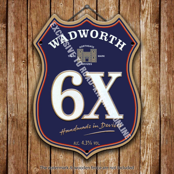 wadworth-6x-beer-advertising-bar-old-pub-drink-pump-badge-brewery-cask-keg-draught-real-ale-pint-alcohol-hops-shield-shape-metal-steel-wall-sign