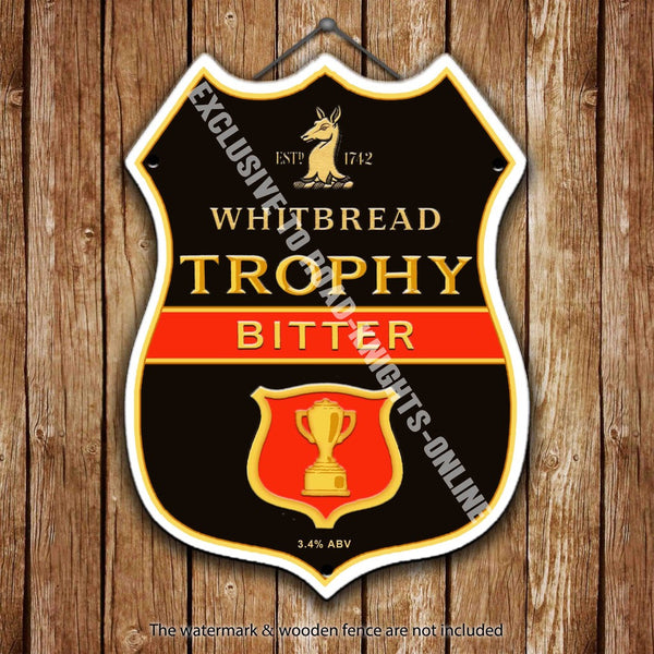 whitbread-trophy-bitter-beer-advertising-bar-old-pub-drink-pump-badge-brewery-cask-keg-draught-real-ale-pint-alcohol-hops-shield-shape-metal-steel-wall-sign