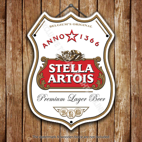 stella-artois-beer-advertising-bar-old-pub-beer-advertising-bar-old-pub-drink-pump-badge-brewery-cask-keg-draught-real-ale-pint-alcohol-hops-shield-shape-metal-steel-wall-sign