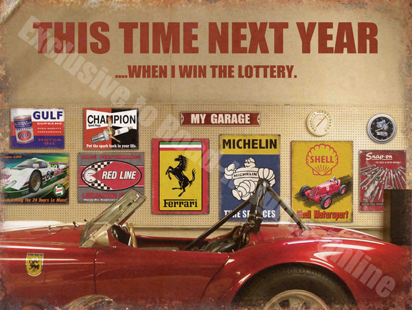 Lottery This Time Next Year Car, Vintage Garage 035 Ferrari Sports Version 2 Sm Medium Steel Wall Sign