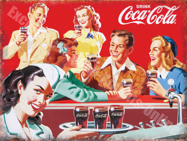 Coca Cola Retro Diner 50's America Drink Metal/Steel Wall Sign