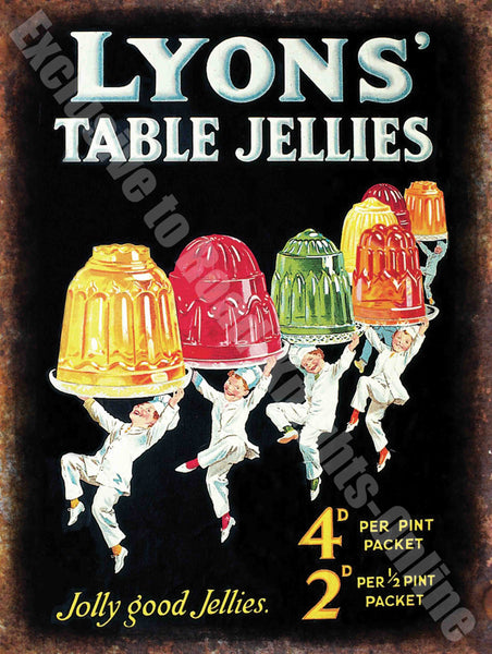 Vintage Food, 82, Lyon's Jelly, 50's Cafe Kitchen Old Shop Metal/Steel Wall Sign