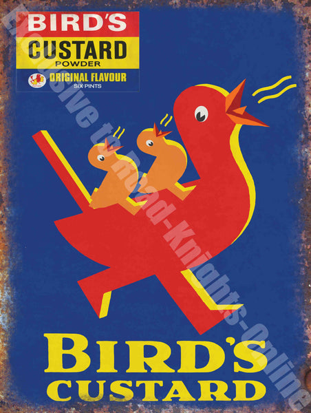 Vintage Food, 91, Bird's Custard, Retro Duck Cafe Old Shop Metal/Steel Wall Sign