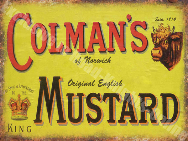 Colman's Mustard Advert Vintage Kitchen Cafe Pub Metal/Steel Wall Sign