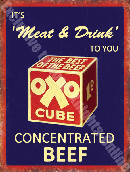 Oxo Cube Vintage Food & Drink, 97, Concentrated Metal/Steel Wall Sign