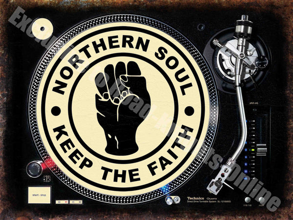 Northern Soul 'Keep the Faith' DJ Decks Turntable Fist Metal/Steel Wall Sign
