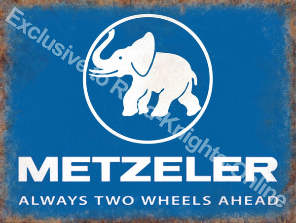 metzeler-always-two-wheels-ahead-bike-cycle-tyres-blue-sign-with-white-elephant-for-house-home-garage-bar-shop-or-pub-metal-steel-wall-sign