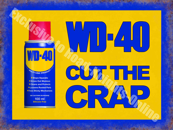 WD-40 Vintage Garage Advertising Oil Car Bike Shed W Small Steel Wall Sign